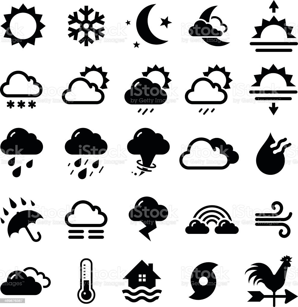 Series of black weather icons in white background vector art illustration