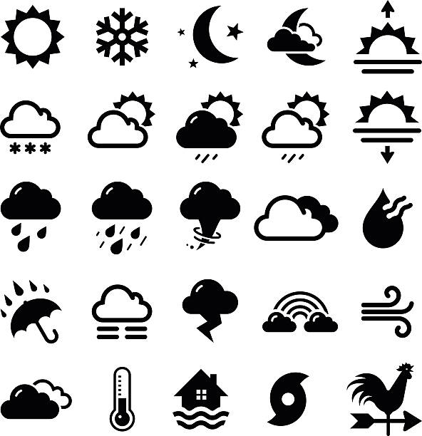 series of black weather icons in white background - rain stock illustrations, clip art, cartoons, & icons