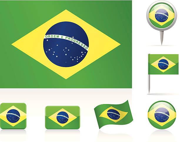 Series of Brazilian flags vector art illustration