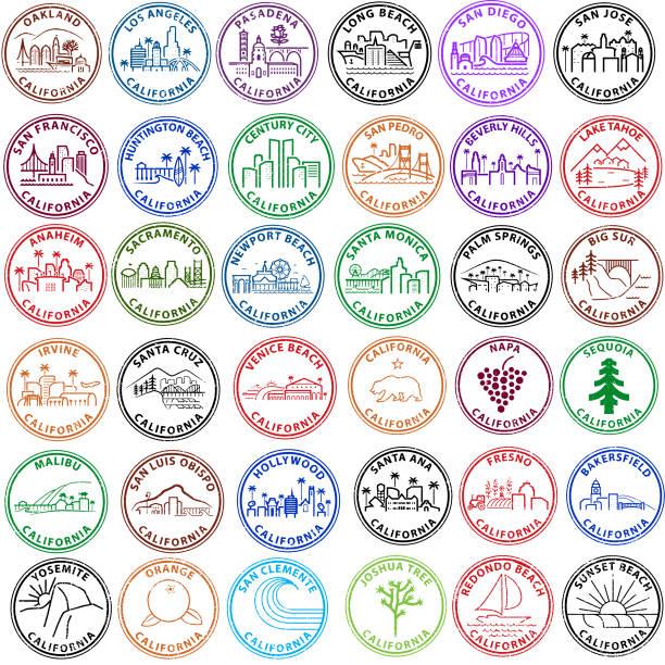 reihe von kalifornischen städten und orten in form von stempel - nationalpark stock-grafiken, -clipart, -cartoons und -symbole