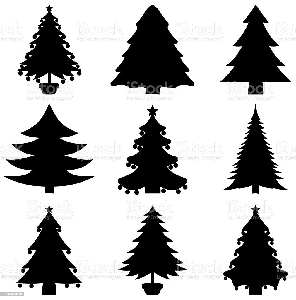 series of decorative fir shadow vector art illustration