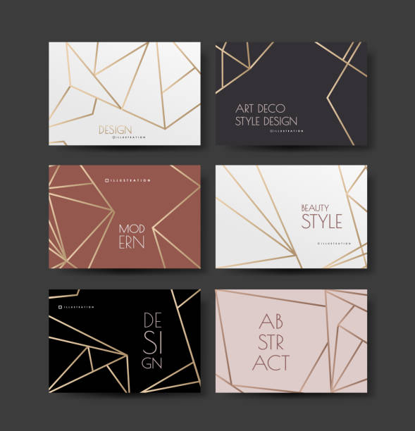 a series of designs with gold lines on a white, pink and dark background in art deco style. wedding or fashionable style. vector - invitations templates stock illustrations