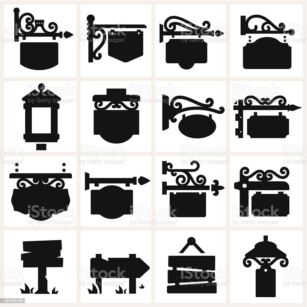 Series of different hanging sign shapes vector art illustration
