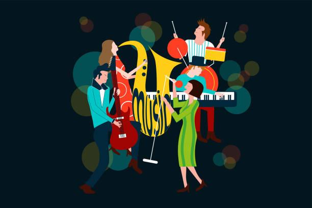 Série de composition de concert de musique avec les hommes et les femmes chantant et jouant de sax, guitare électrique, piano et batterie - illustration de vecteur coloré isolé sur fond bleu - Illustration vectorielle