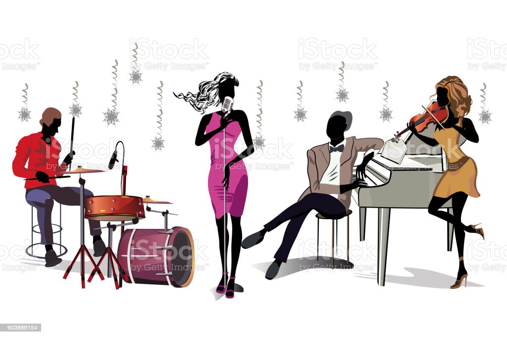 Series of musical backgrounds with musicians and dancers. vector art illustration