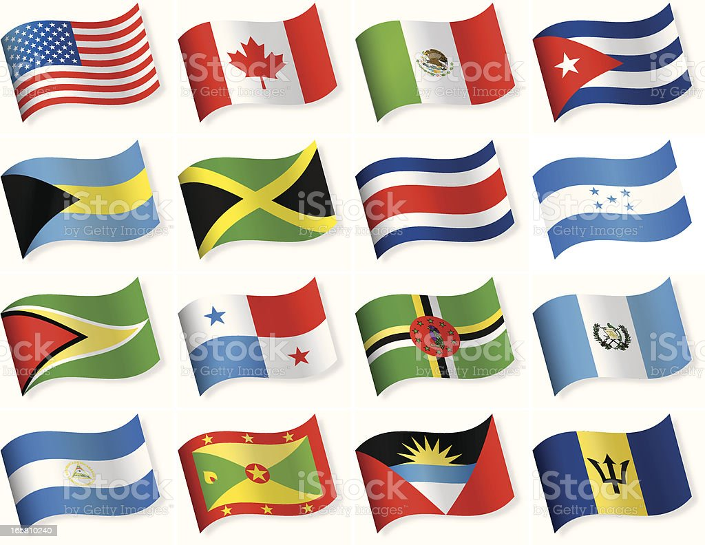 Series of North and Central America flags vector art illustration