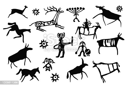 A series of petroglyphs, rock paintings of Siberia, vector design