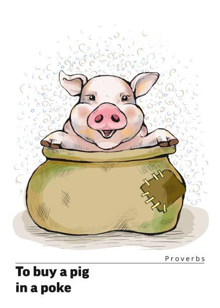 子豚とポストカードのシリーズ。ことわざと格言。突くの豚を購入するには - ポキ点のイラスト素材/クリップアート素材/マンガ素材/アイコン素材