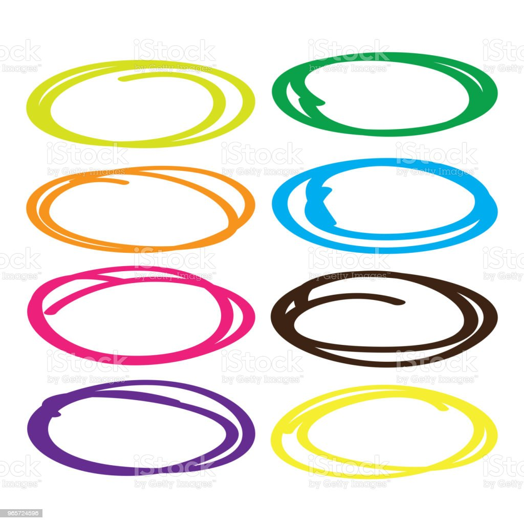 Series of red, yellow, blue, brown, green  highlight pen circle, hand draw circles set in various colors. - Royalty-free Abstract stock vector