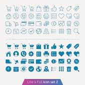 Trendy thin icons for web and mobile. Line and full versions.