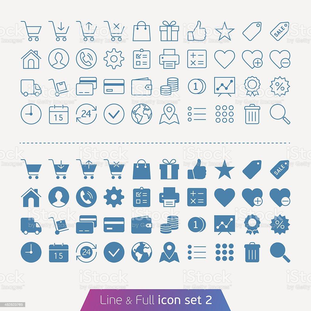 Reihe von Einkaufsmöglichkeiten und Geld Symbole – Vektorgrafik