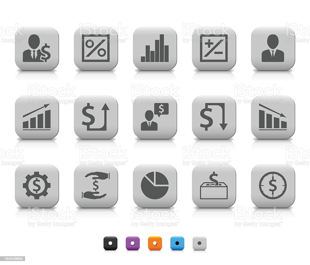 Series of smooth black and white business icon buttons royalty-free stock vector art