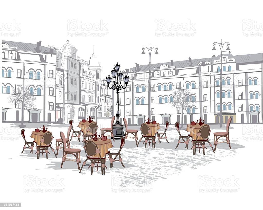 Series of street cafes in the old city. vector art illustration