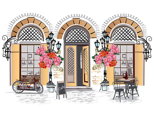 series of street cafes with flowers. - urban fashion stock illustrations, clip art, cartoons, & icons