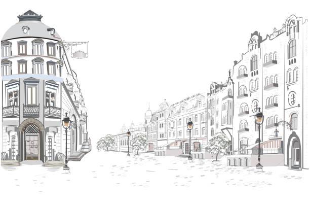 bildbanksillustrationer, clip art samt tecknat material och ikoner med serie av utsikt över gatan i gamla stan. - paris