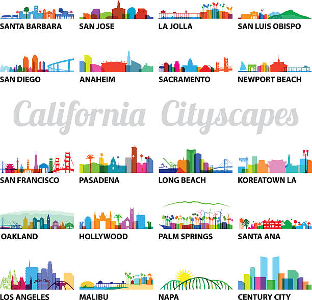 Series of Stylized California Cityscapes Series of Stylized California Cityscapes with overlay vector graphics santa barbara california stock illustrations
