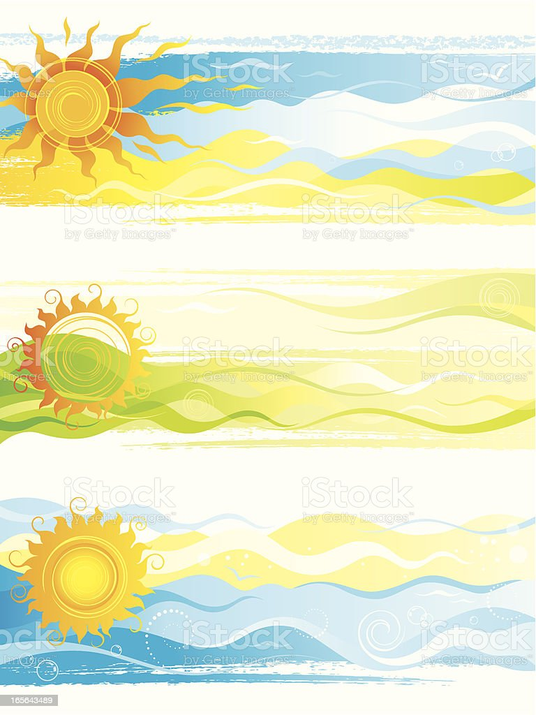 A series of summer banners with the sun royalty-free stock vector art
