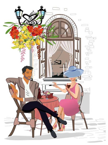 ilustrações, clipart, desenhos animados e ícones de série dos cafés da rua com povos da forma, homens e mulheres, na cidade velha, ilustração do vetor. - moda parisiense