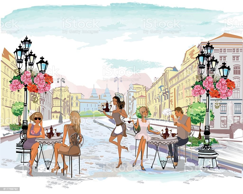 Series of the street cafes with people. ベクターアートイラスト