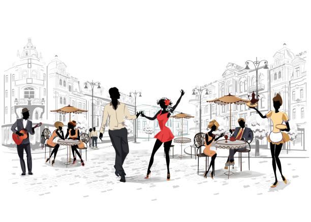 bildbanksillustrationer, clip art samt tecknat material och ikoner med serie av gatorna med musiker och dansande par i den gamla staden. - street dance