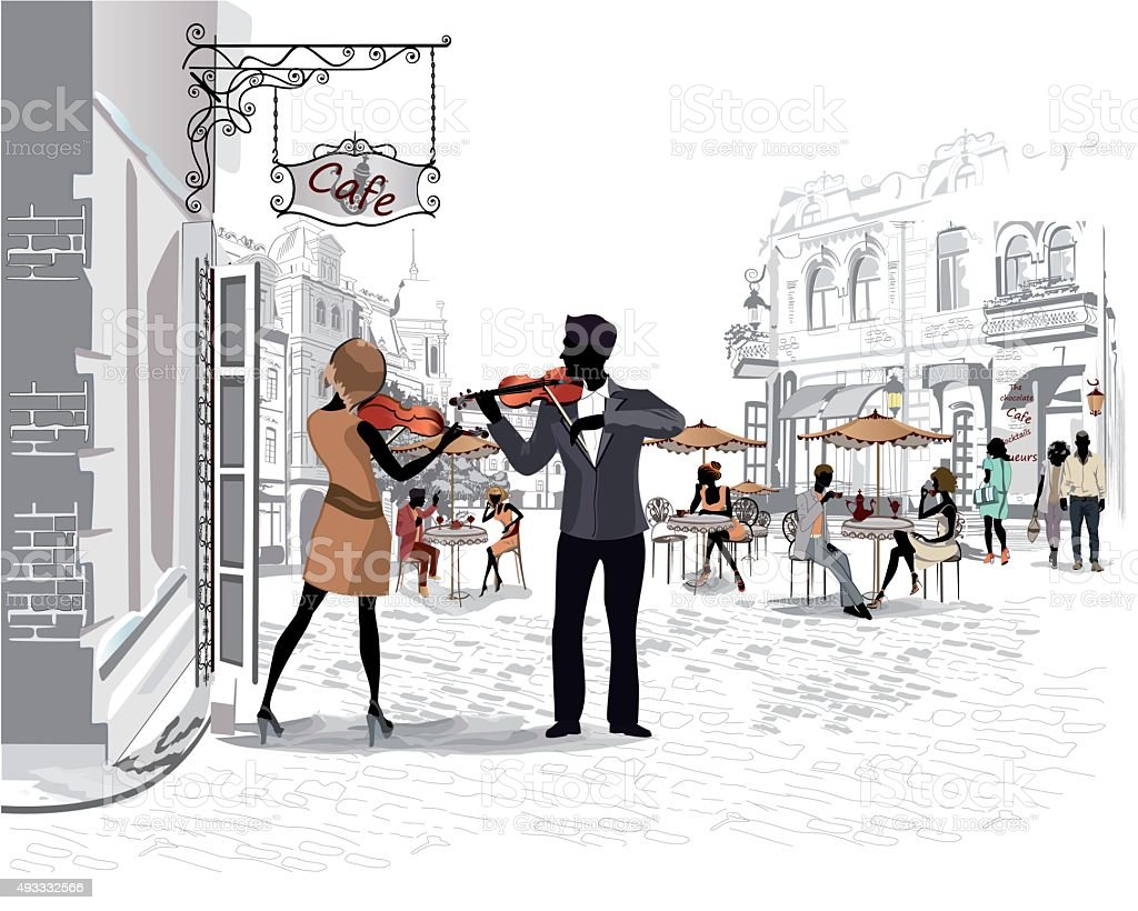 Series of the streets with people in the old city vector art illustration