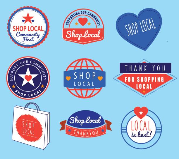series of vintage retro icons based on shop local theme collection of icons ideas based on shopping local ethical consumerism stock illustrations