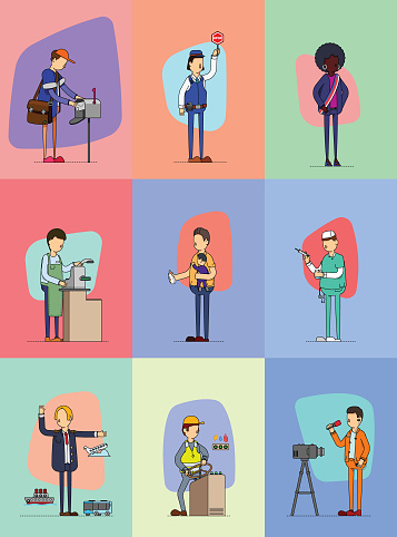 Series of workers performing their daily task in communities, public sectors and private sectors