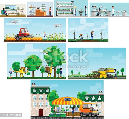 istock Series representing sustainable technologie, advanced science for agriculture and hydroponics and sustainable lifestyle 1251246169