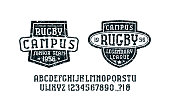 Serif font in the sport style and rugby badges for t-shirt