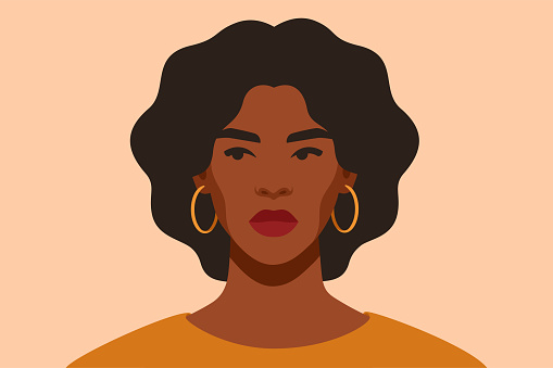 Serious Black girl is looking away in protest. Self-confident young woman with brown skin and curly hair portrait front view. African female with arrogant facial expression. Vector