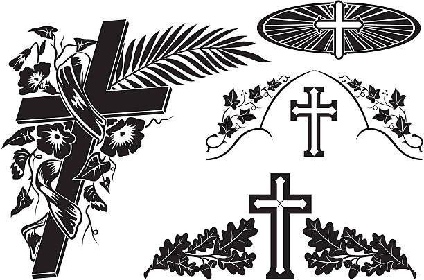 grave decoration - tombstone stock illustrations