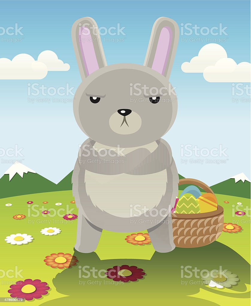 Serious easter bunny vector cartoon with arms folded. royalty-free stock vector art