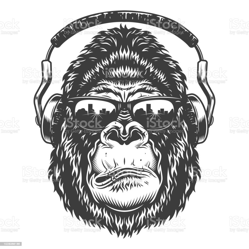 Gorila grave en estilo monocromo - ilustración de arte vectorial