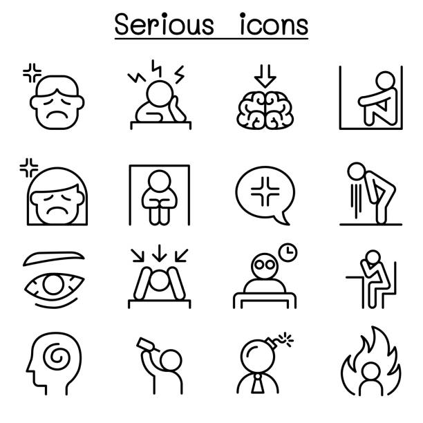 serious icon set in thin line style - anger stock illustrations