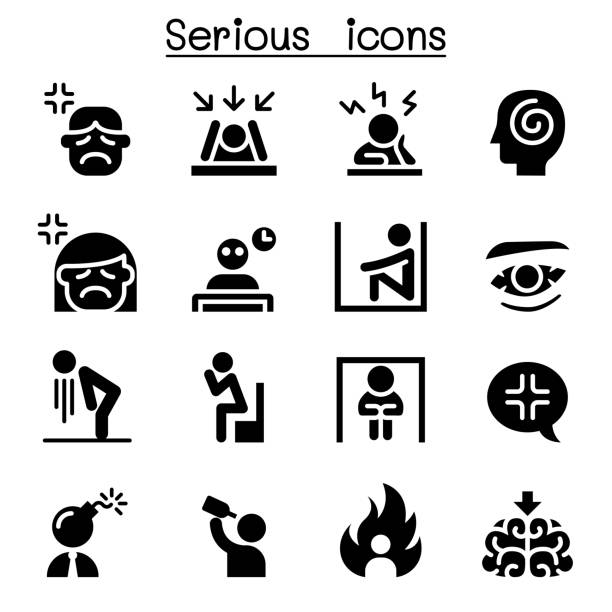 stockillustraties, clipart, cartoons en iconen met ernstige pictogramserie - zelfmoord