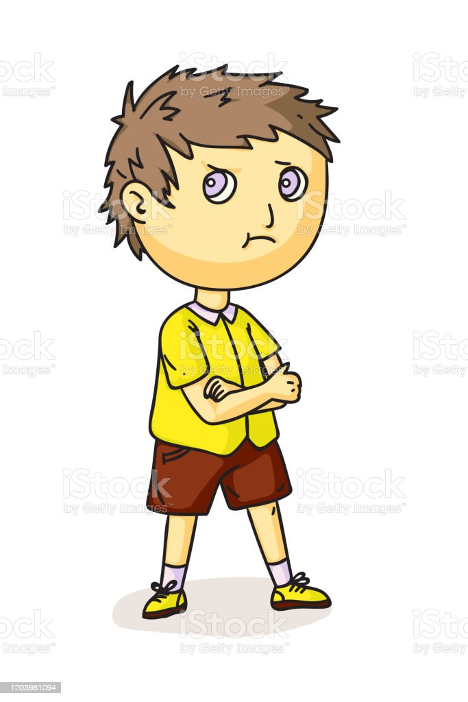 Serious Little Boy Character Isolated On White Stock Illustration Download Image Now Istock