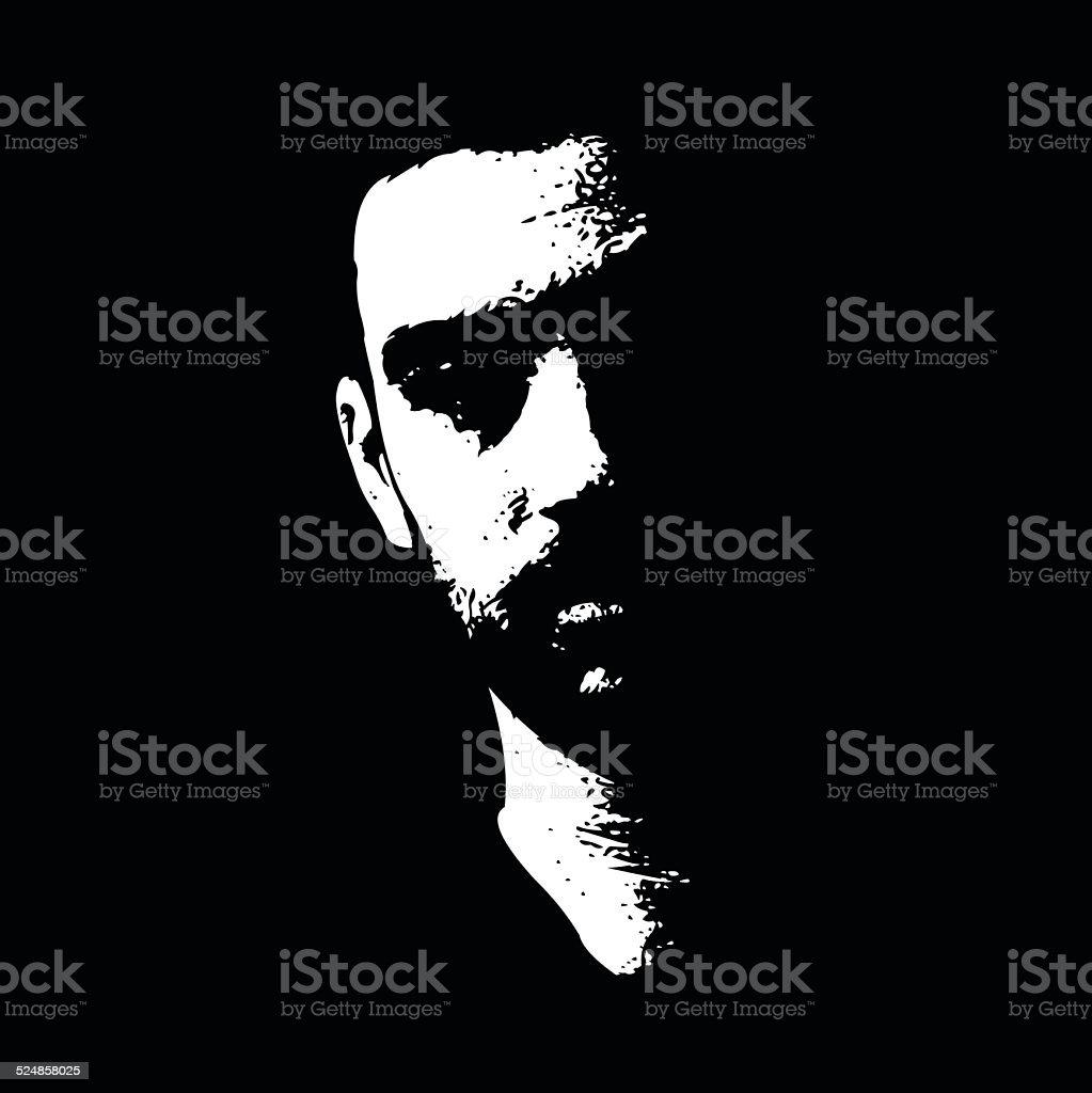 Serious male face illuminated in the dark vector art illustration