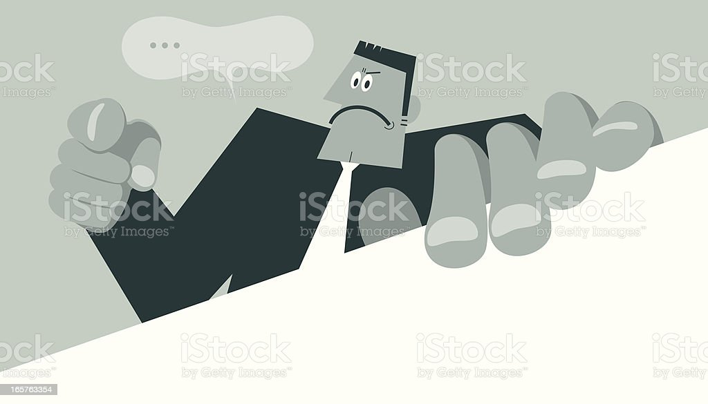 Serious Man Holding a Blank Sign and Pointing at you royalty-free stock vector art