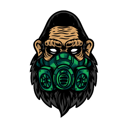 Serious of gorilla or ape head use green mask
