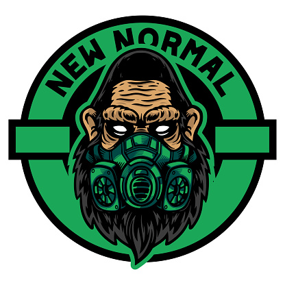 Serious of gorilla or ape head use green mask with new normal title, Isolated on white background for t-shirt, shirt, poster and wallpaper.