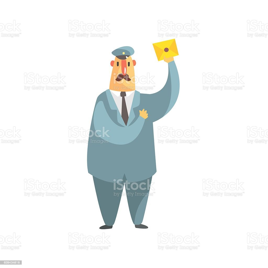 Serious Postman In Uniform Amd A Tie Holding A Letter
