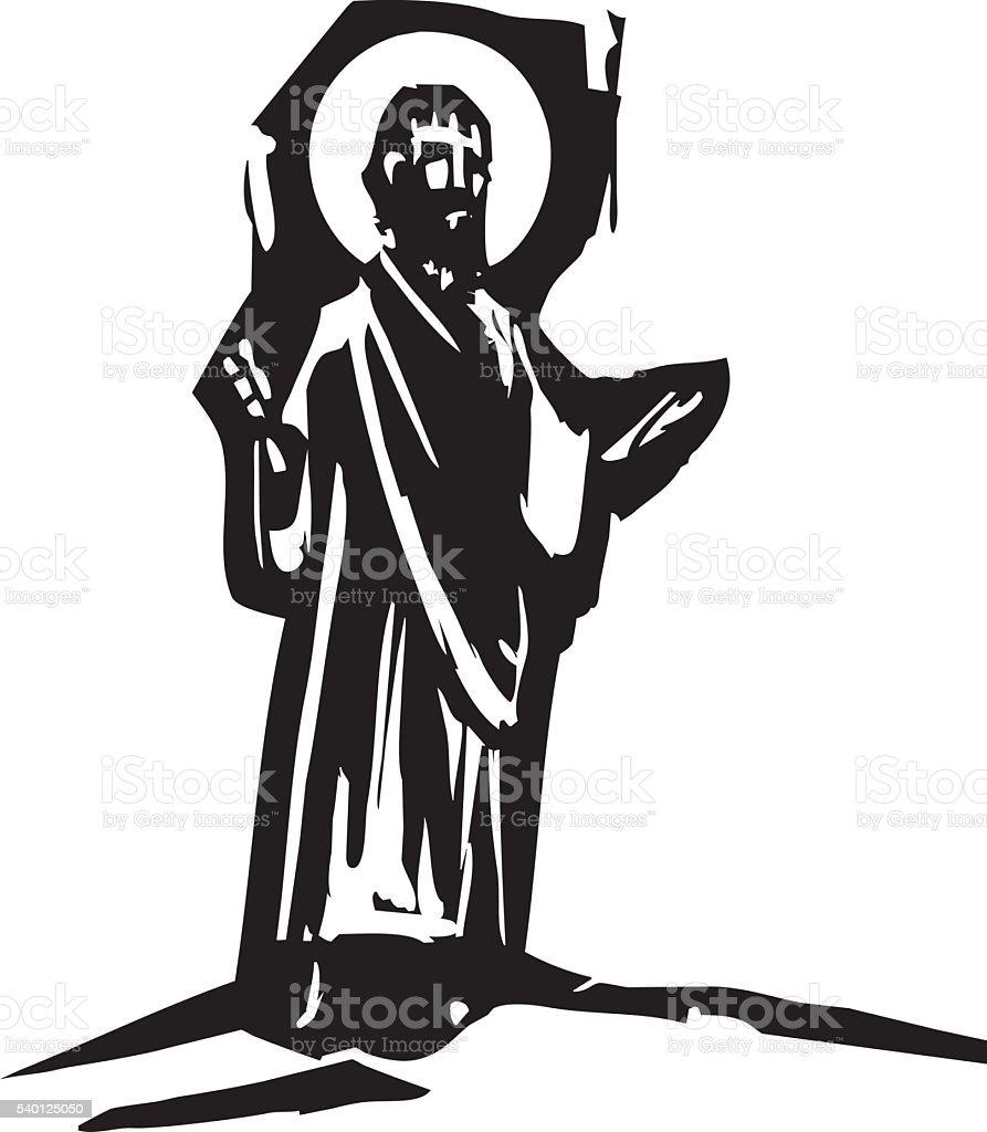 Sermon Preaching Christ vector art illustration