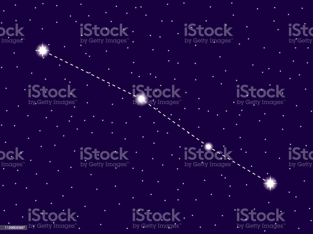 Serpens Constellation Starry Night Sky Cluster Of Stars And Galaxies