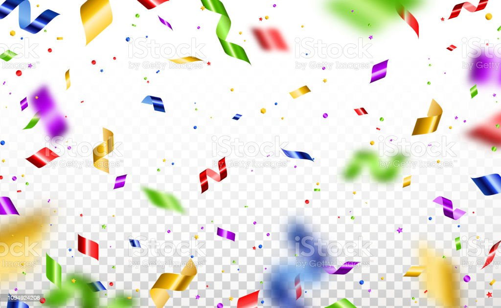 Serpentine and confetti isolated vector art illustration