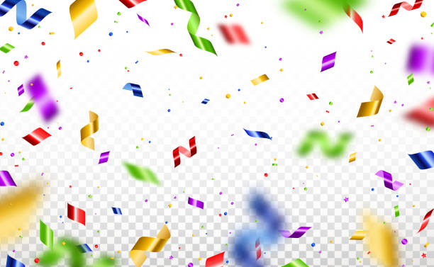 Serpentine and confetti isolated Colorful serpentine and confetti isolated on transparent background. Vector illustration. Shiny falling decorations for holiday design carnival stock illustrations