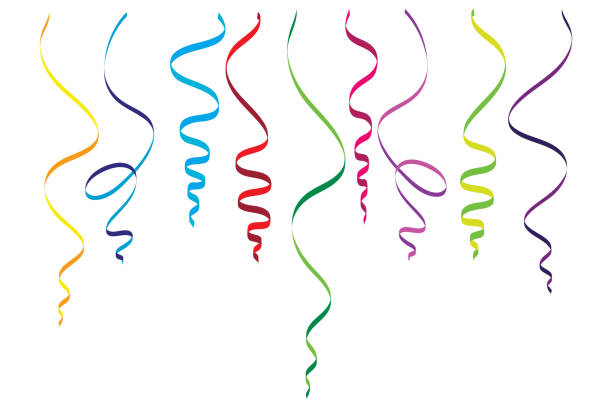 serpentine streamers objects - streamer stock illustrations, clip art, cartoons, & icons