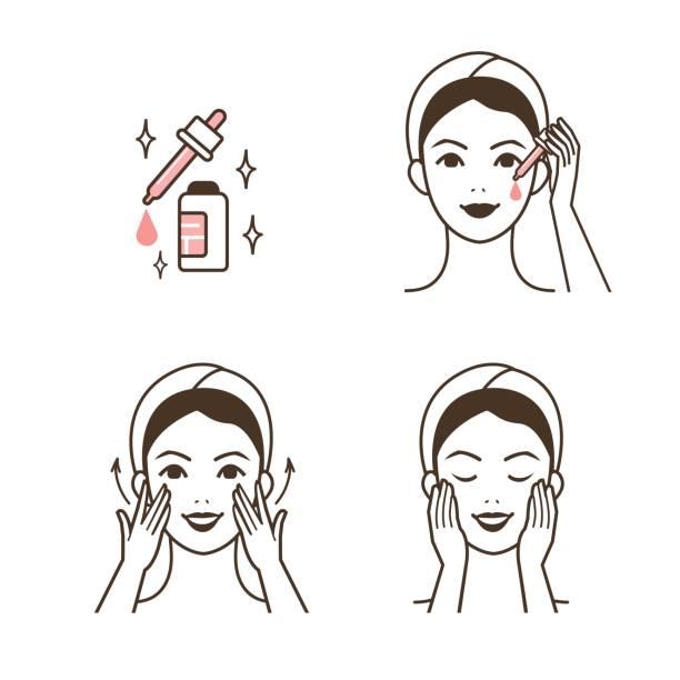 serum applying - face mask illustrations stock illustrations