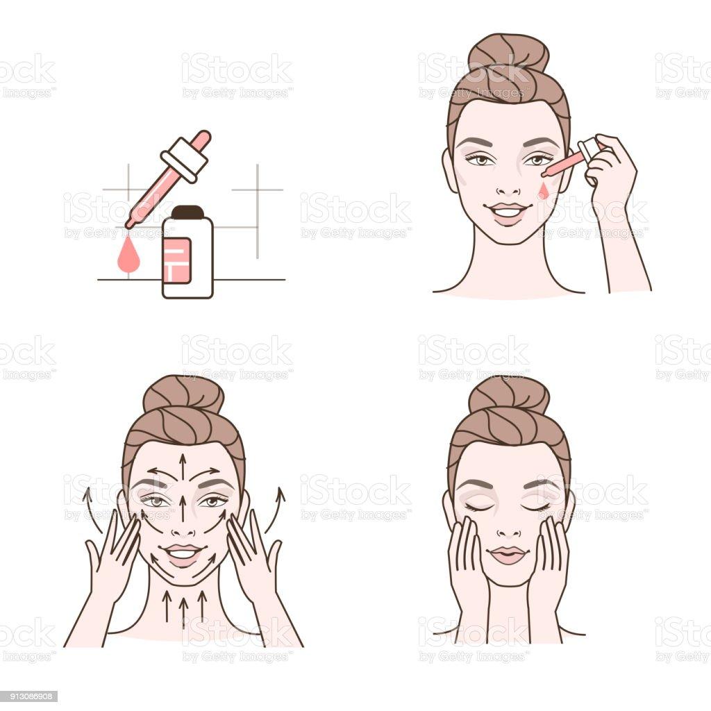 Serum applying vector art illustration