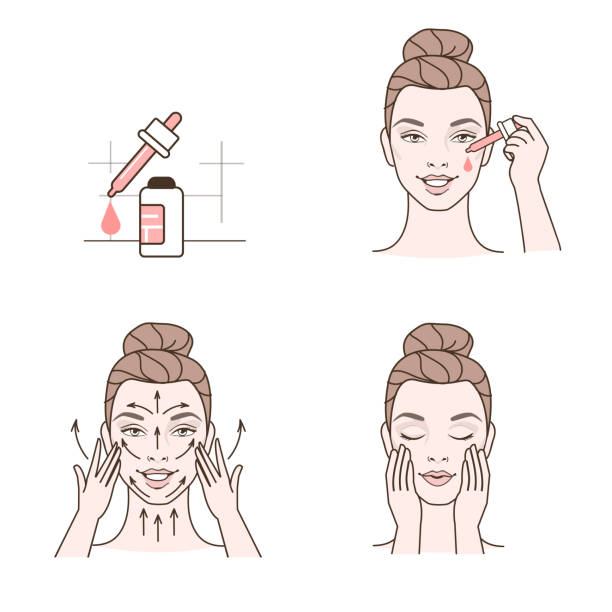 stockillustraties, clipart, cartoons en iconen met toepassing van serum - skincare