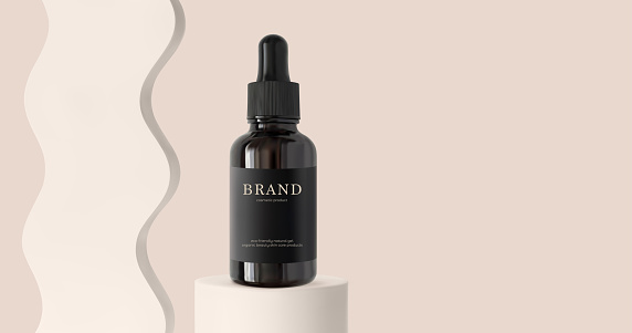Serum essence with black dropper on cylinder podium stage and wave decor 3d realistic vector illustration. Skincare cosmetic product on beige background banner